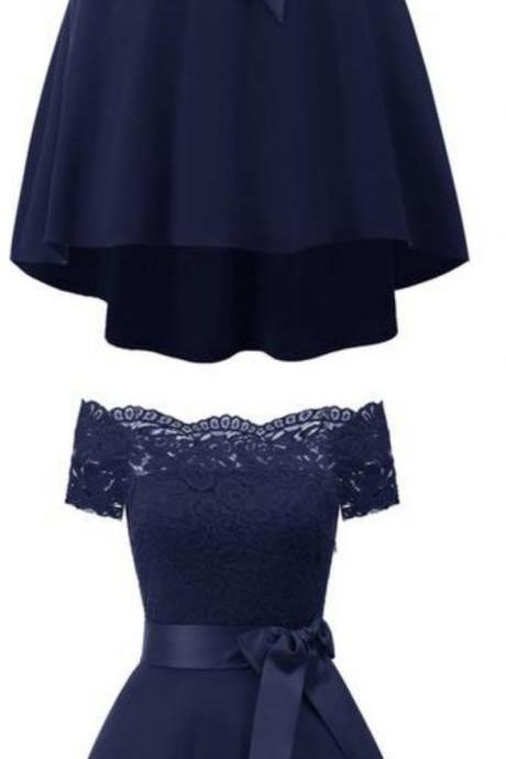 Navy Blue Off Shoulder A Line Homecoming Dresses,Short Cocktail Dress