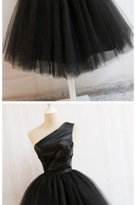 Black One Shoulder A Line Homecoming Dresses Short Prom Dresses