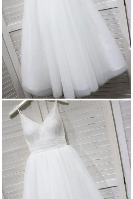 White V Neck Sleeveless Backless Lace Prom Dresses Short Homecoming Dresses