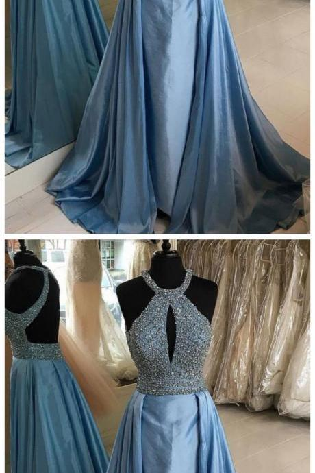 Prom Dresses , Long Prom Dresses, Prom Dresses Backless, Blue Prom Dresses