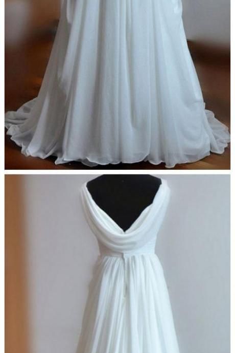 White A-line V-neck Backless Sweep Train Chiffon Cheap Beach Wedding Dresses