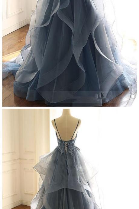 TULLE LACE LONG PROM DRESS, EVENING DRESS