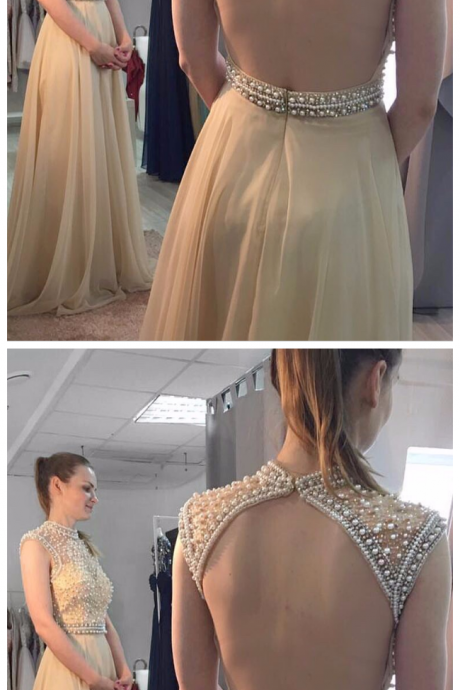 Custom Made Prom Gowns, A Line High Neck Pearls Top Champagne Chiffon Prom Dress,Open Back Long Evening Dresses