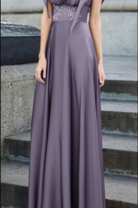 Stunning Satin Chiffon V-neck Neckline A-line Evening Dress With Beaded Lace Appliques