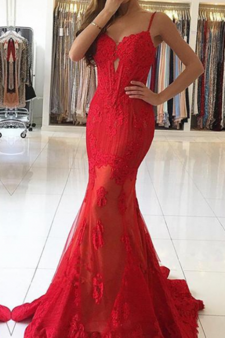 Long Prom Dress,formal spaghetti straps mermaid red long dress, long sexy Prom Dress
