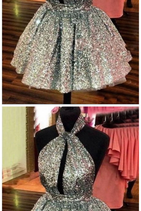 Sparkly Silver Sequined Homecoming Dresses Halter Sexy Backless Short Prom Dresses Hollow Front Cocktail Party Dresses Cheap Customize