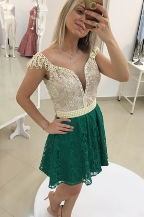 Sexy Evening Dress,Short Prom Dress,Lace Evening Dress,Backless Party Dress
