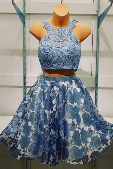 Blue two pieces lace short prom dress, blue homecoming dress