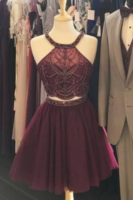 Burgundy Homecoming Dresses, Short Prom Dresses, Short Tulle Prom Dresses, Two Pieces Prom Dresses, Sexy Prom Dresses, 2 Pieces Prom Dresses,