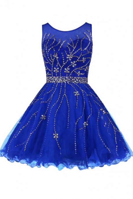 Homecoming Dresses, Graduation Dresses, Mini Party Dress, Homecoming Dresses with Silver Beaded, Short Prom Dresses, Royal Blue Prom Dresses