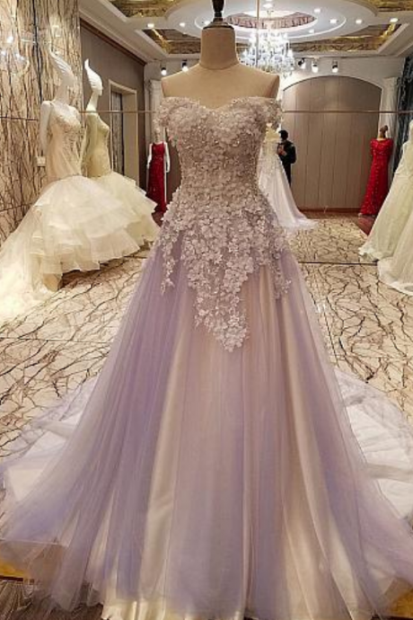 Off Shoulder Prom Dress, Sexy Tulle Beaded Appliques Prom Dresses, Long Evening Dress, Formal Gown,Evening Dresses
