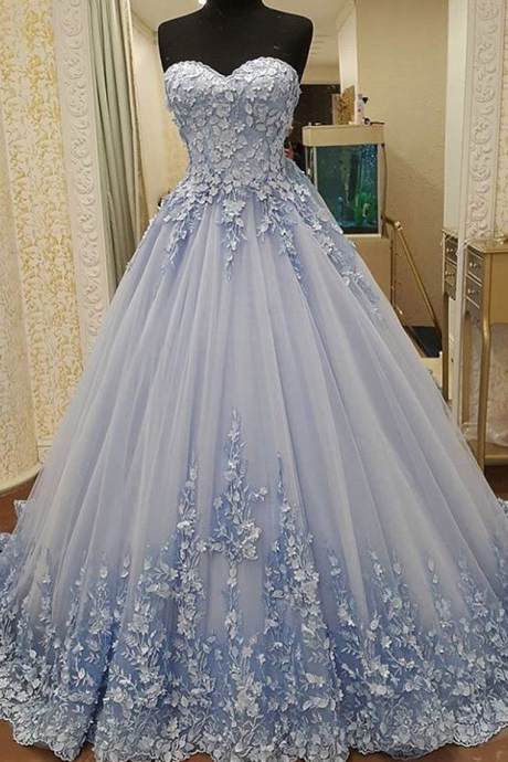 Elegant Tulle Evening Dress, Sexy Ball Gown Appliques Prom Dresses, Formal Evening Gown, Party Dress,Evening Dresses