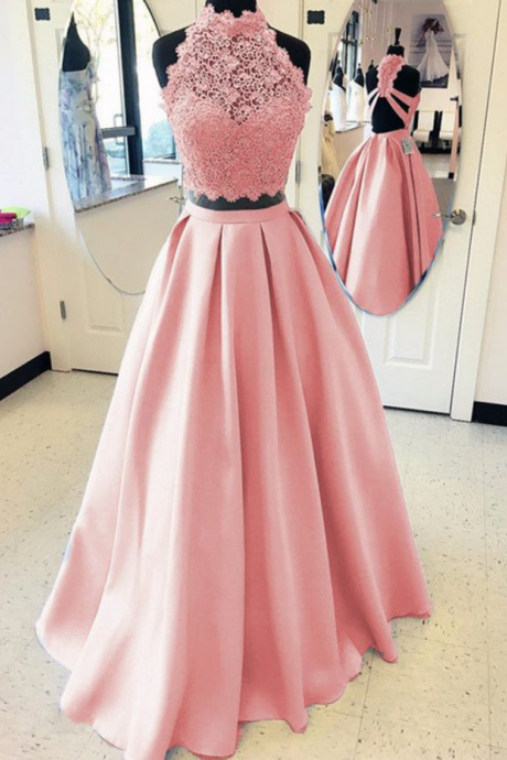 Elegant A-line High Neck Open Back Satin Prom Dresses, Two Piece Evening Gowns, Party Dress,Evening Dresses