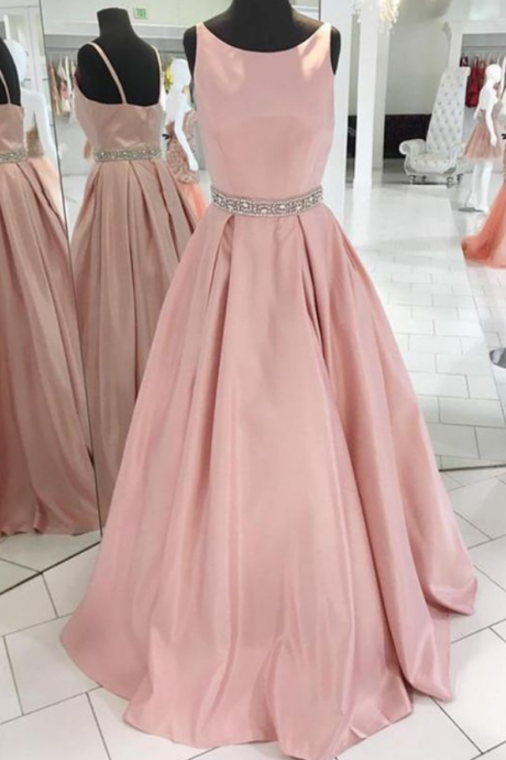 Simple Blush Pink Prom Dress,Round Neckline Graduation Party Dress,Evening Dresses