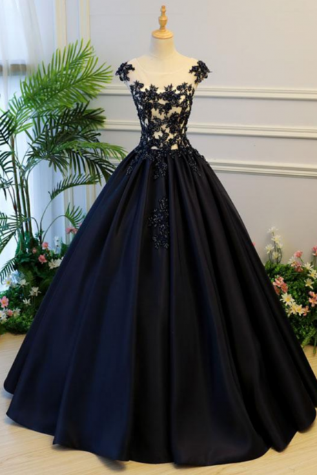 Generous A-Line Round Neck Evening Dress,Cap Sleeves Lace-up Prom Dresses,Back Black Satin Long Prom/Evening Dress with Beading