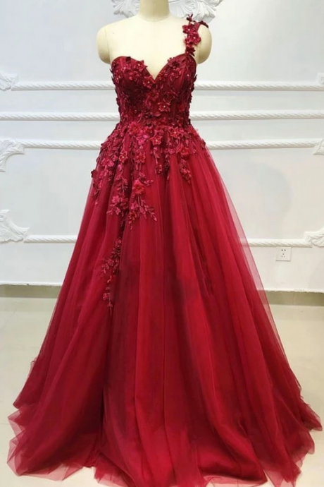 Sweetheart Burgundy Tulle Lace Long Prom Dress, Evening Dress
