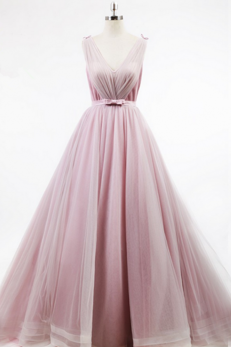 Pink Tulle Prom Dresses, See Through Long Prom Dresses,Evening Dresses