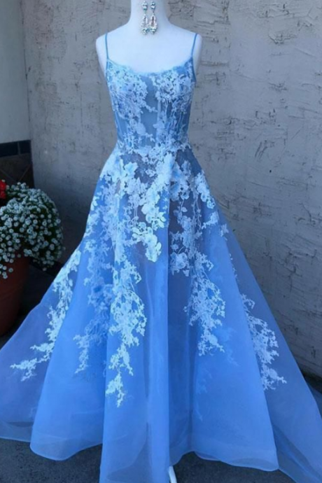 Sky Blue V Neck Beaded Long Prom Dresses ,Pearls Tulle Cute Prom Dress ,Evening Dresses