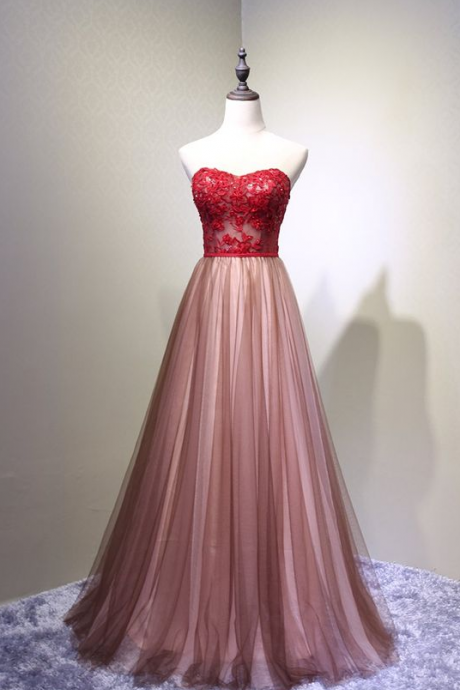 Sweetheart Tulle Prom Dress, Charming Handmade Party Gown