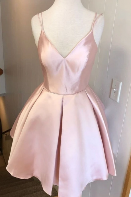 Spark Queen pink sleeveless v-neck satin mini evening dresses party dresses spaghetti-straps backless homecoming dress