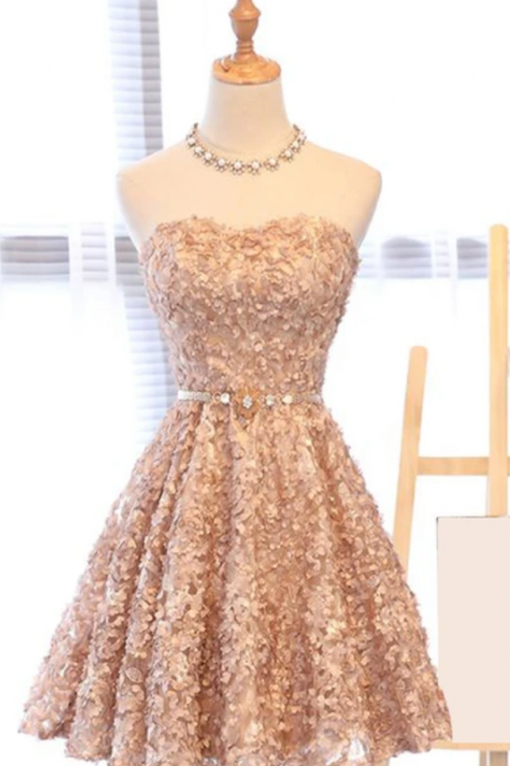 Spark Queen pink strapless sleeveless sweetheart mini evening dress party dresses applique beaded lace homecoming dresses