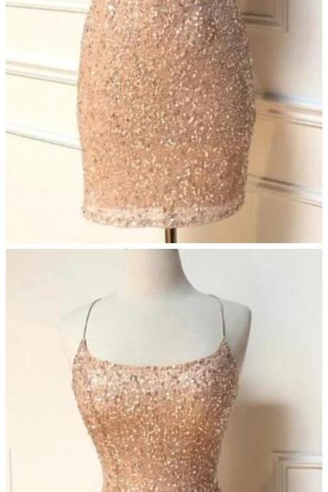 Spark Queen elegant peach sequins homecoming dress with spaghetti straps