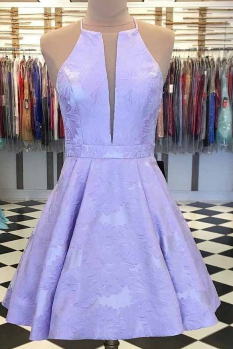 Spark Queen Lilac Printed Satin Short Prom Homecoming Dress with Pockets