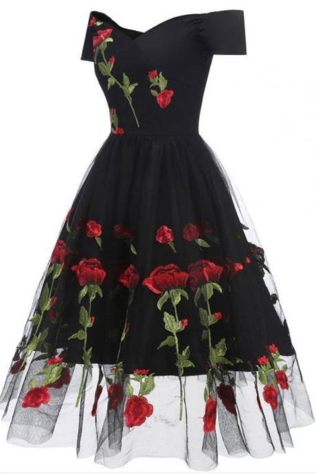 Spark Queen Off-Shoulder Floral Embroidery Prom Dresses Short Sleeves Party Dress