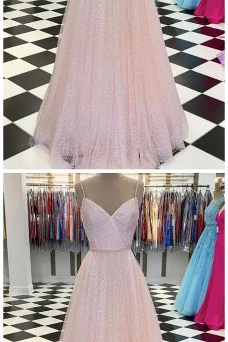 Spark Queen Pink v neck tulle sequin long prom dress pink tulle formal dress
