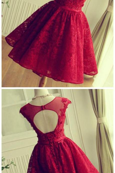 Spark Queen Red Lace homecoming dresses, lace prom dress, 2020 homecoming dress, Short homecoming dress