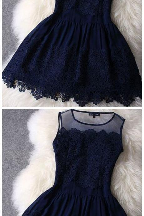 Spark Queen Sleeveless see-through embroidery lace short prom dress fashion mini dress