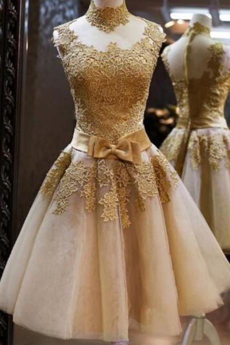 Spark Queen Champagne Lace Ribbon Short-length short prom dress ,homecoming dresses,sweet 16 dress