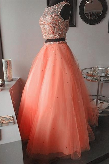 Spark Queen Modest Prom Dress,coral pink two piece ball gowns quinceanera dresses with crystal beaded