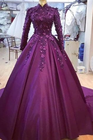 Spark Queen purple lomg prom ball Dress Long Sleeve Muslim