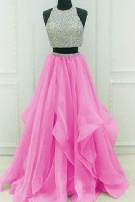 Spark Queen Sequins Beaded Organza Layered Two Piece Ballgowns Prom Dress