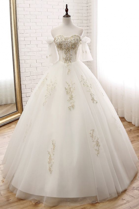 Spark Queen Pretty Tulle Off-the-shoulder Neckline Ball Gown Wedding Dress With Lace Appliques & Beadings