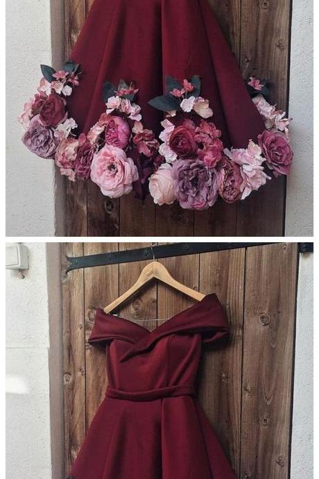 Burgundy Short Homecoming Dresses with Flowers