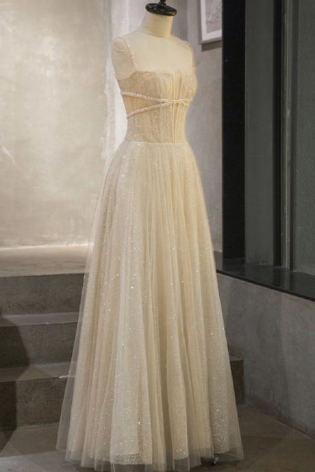 Beautiful Light Champagne Tulle Long Beaded Prom Dress, Elegant Formal Gown