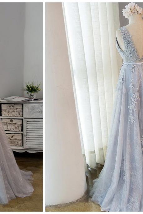 Beautiful Grey Long Tulle with Lace Bridesmaid Dress, Light Grey Prom Dress
