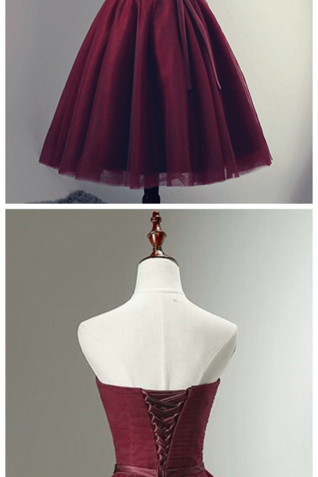 Beautiful Burgundy Knee Length Lace-up Tulle Party Dress, Homecoming Dress Short Prom Dress