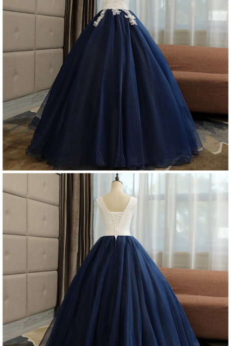 Beautiful Navy Ball Gown Sweet 16 Dress with White Top, Long Formal Dress