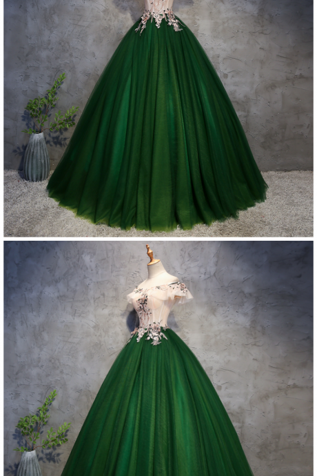 Beautiful Tulle Handmade Long Party Dress, A-line Off Shoulder Prom Dress