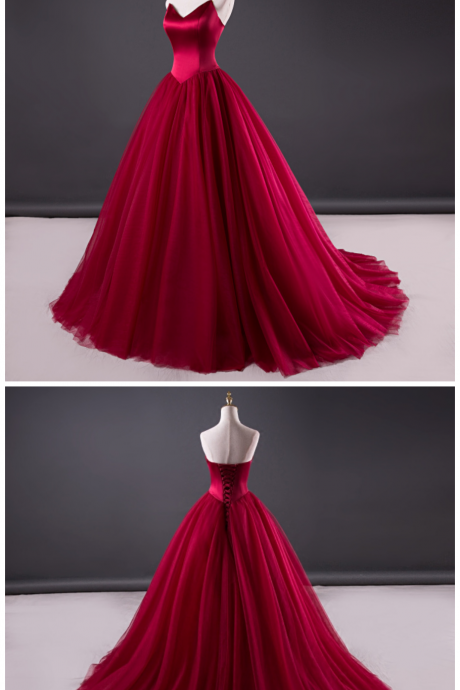 Charming Wine Tulle and Satin Long Party Dress, Sweet 16 Gown