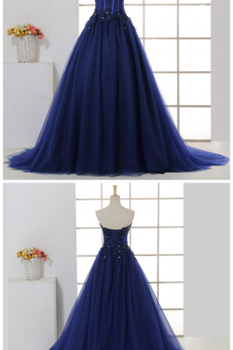 Charming Navy Tulle Sweetheart Party Dress, Ball Gown Formal Dress