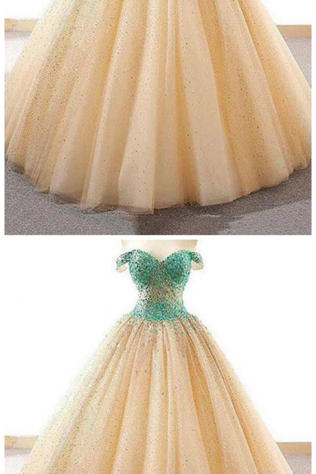 Ball Gown Prom Dresses,Off The Shoulder Prom Dress,Long Prom Dress,Beading Prom Gown