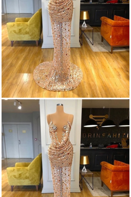 Luxurious Long Prom Dresses with Colorful Rhinestones
