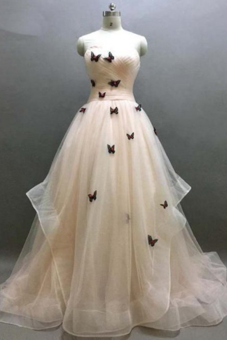 Ivory Sweetheart Ruffle Prom Dress, Beautiful Butterfly Appliques Lace Up Prom Dress, Prom Dresses