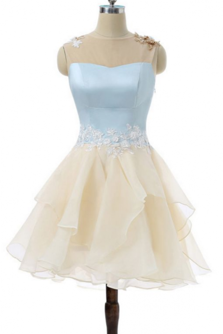 Short Homecoming Dress, Tulle Beading Homecoming Dress, Applique Junior School Dress, Sleeveless Homecoming Dress
