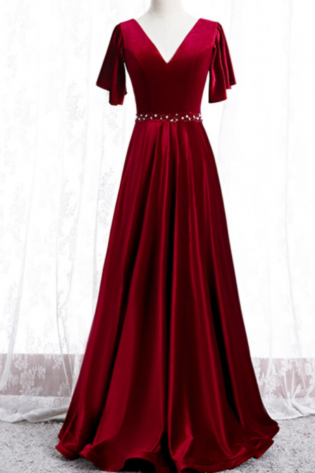 A-Line Burgundy Velvet V-neck Beading Sequins Prom Dress
