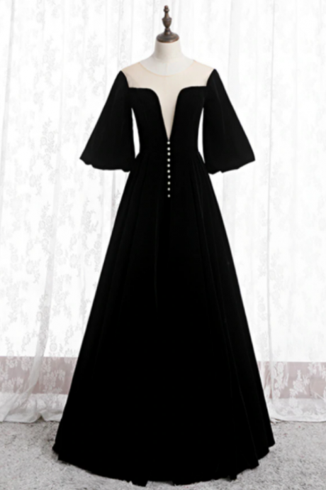A-Line Black Velvet Horn Sleeve See Through Prom Dress